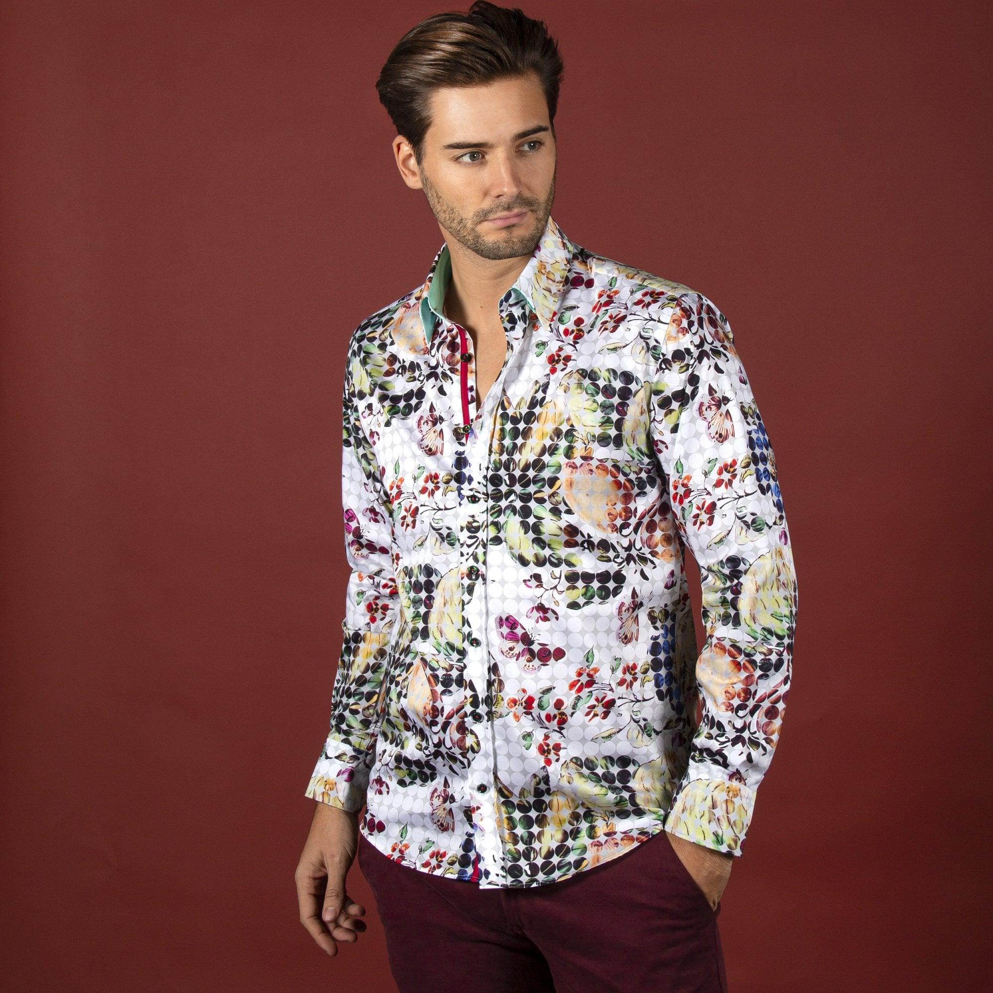 YYG Men Long Sleeve Business Printed Slim Fit Casual Button Up Dress Shirt