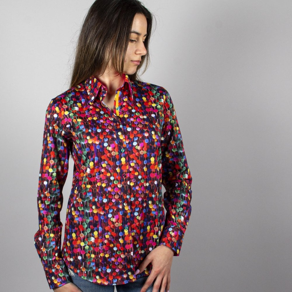 Ladies Satin Cotton Shirt Sunflower Print Claudio Lugli Womens